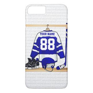 Hockey sur glace bleu et blanc personnalisé Jersey Coque iPhone 8 Plus/7 Plus