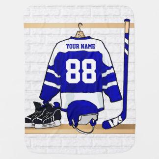 Hockey sur glace bleu et blanc personnalisé Jersey Couverture De Bébé