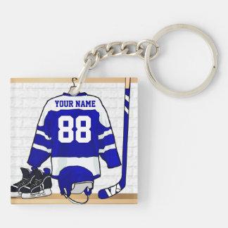 Hockey sur glace bleu et blanc personnalisé Jersey Porte-clé Carré En Acrylique Double Face