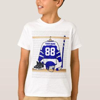 Hockey sur glace bleu et blanc personnalisé Jersey T-shirt