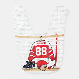 Hockey sur glace rouge et blanc personnalisé bavoirs de bébé