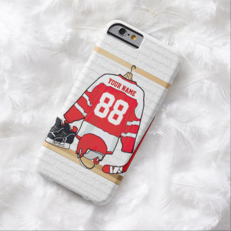 Hockey sur glace rouge et blanc personnalisé coque barely there iPhone 6