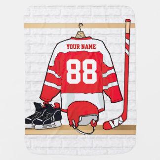 Hockey sur glace rouge et blanc personnalisé couverture de bébé