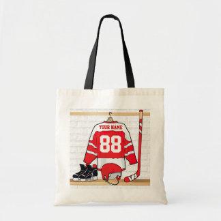 Hockey sur glace rouge et blanc personnalisé sacs