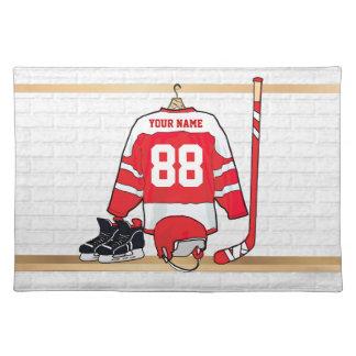 Hockey sur glace rouge et blanc personnalisé set de table
