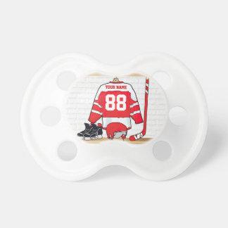 Hockey sur glace rouge et blanc personnalisé tétine