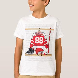 Hockey sur glace rouge et blanc personnalisé t-shirt