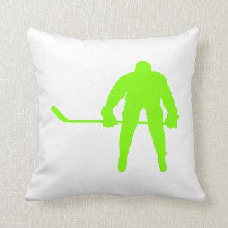 Hockey vert Chartreuse et au néon Oreiller