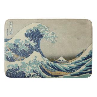 Hokusai : Grande vague outre de Kanagawa Tapis De Bain
