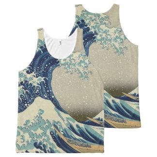 Hokusai la grande vague outre de Kanagawa Débardeur Tout-imprimé