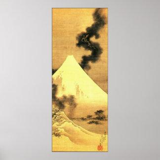 Hokusai le dragon de la fumée échappant au mont Fu Posters