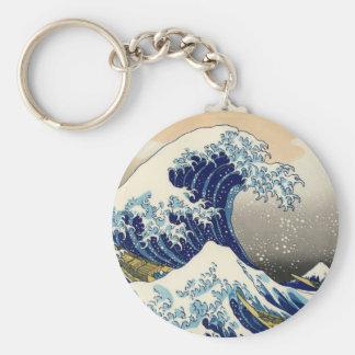 Hokusai le grand porte - clé de vague porte-clé rond
