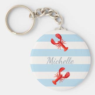Homards nautiques blancs bleus de rouge de rayures porte-clé rond