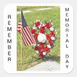 Hommage de jour de mémorial/vétérans autocollants carrés