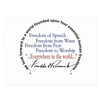Hommage de libertés de FDR quatre Carte Postale