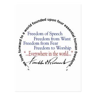 Hommage de libertés de FDR quatre Cartes Postales