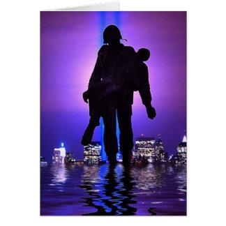 Hommage de World Trade Center dans la lumière Carte De Vœux