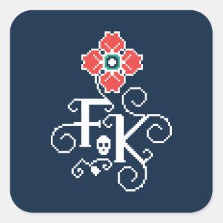 Hommage floral de Frida Kahlo | Sticker Carré
