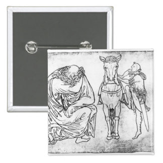 Homme assis, chevalier montant son cheval badges