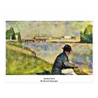 Homme assis par Seurat Georges Carte Postale
