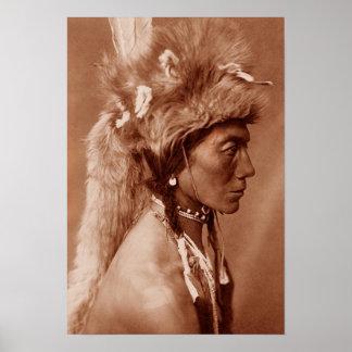 Homme Blackfoot de Natif américain de Piegan Affiche