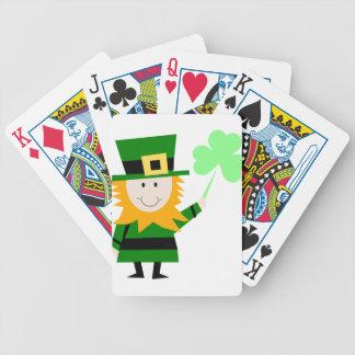 Homme chanceux de trèfle de lutin cartes à jouer