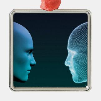 Homme contre la machine concurrençant à l'avenir ornement carré argenté