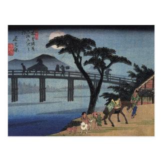 Homme croisant à cheval un pont cartes postales