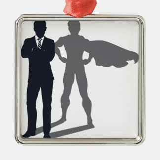 Homme d'affaires d'ombre de super héros ornement carré argenté
