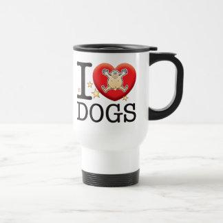 Homme d'amour de chiens mug de voyage en acier inoxydable