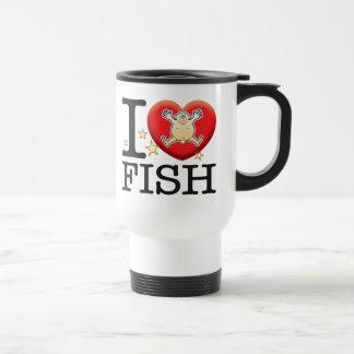 Homme d'amour de poissons mug de voyage en acier inoxydable
