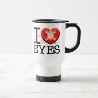 Homme d'amour de yeux mug de voyage en acier inoxydable