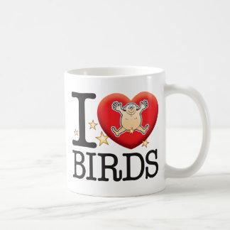 Homme d'amour d'oiseaux mug blanc