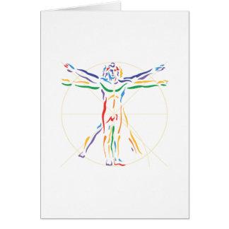 Homme d'anatomie de DaVinci dans des couleurs de Carte De Vœux