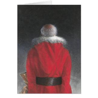Homme dans le manteau rouge carte de vœux
