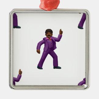 Homme de danse d'Emoji Ornement Carré Argenté