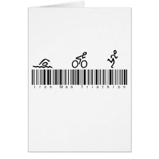 Homme de fer de code barres tri carte de vœux