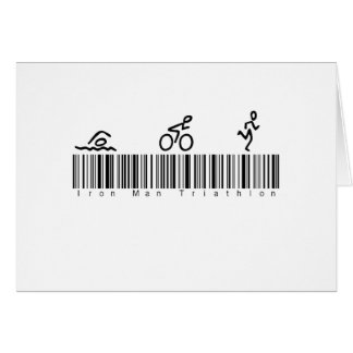 Homme de fer de code barres tri cartes de vœux