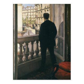 Homme de Gustave Caillebotte- à la fenêtre Carte Postale