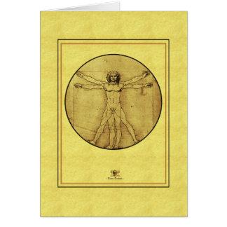 Homme de Leonardo de vinci Vitruvian Cartes De Vœux