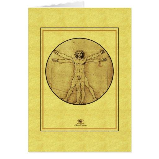 "Homme de Leonardo de vinci ""Vitruvian "" Cartes De Vœux"
