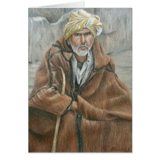 Homme de manteau de Qashabia Carte De Vœux