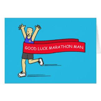 Homme de marathon de bonne chance carte de vœux