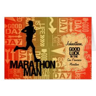 Homme de marathon de bonne chance orange et jaune carte de vœux