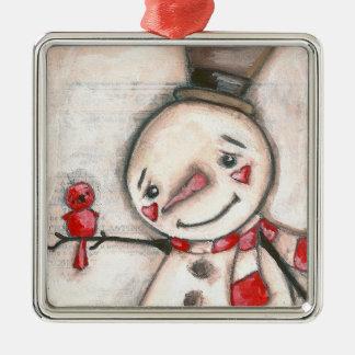 Homme de neige et oiseau rouge - ornement