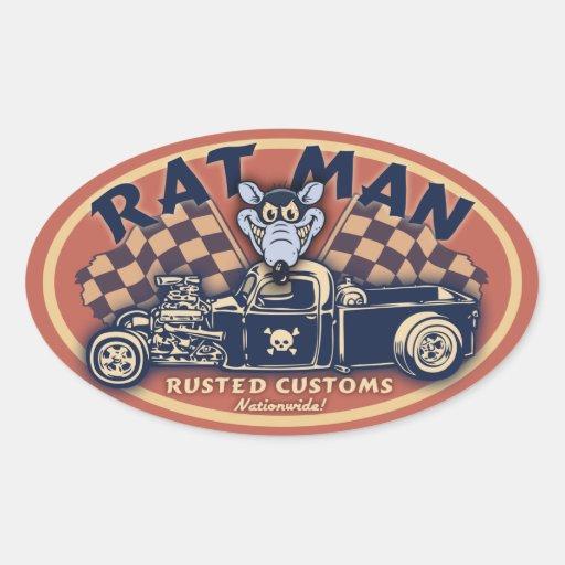 Homme de rat II - OV Stickers Ovales