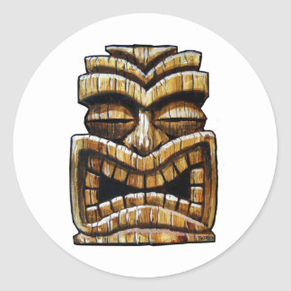 Homme de Tiki Sticker Rond