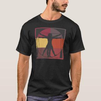 Homme de Vitruvian de bloc de couleur T-shirt