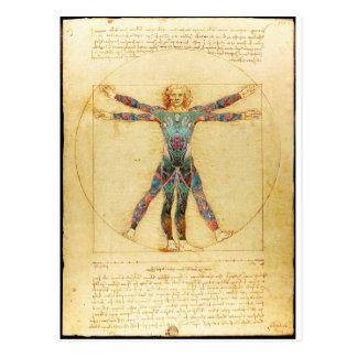 Homme de Vitruvian de da Vinci avec des tatouages Cartes Postales