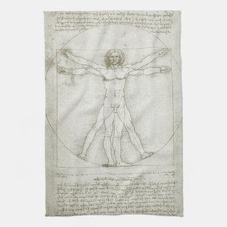 Homme de Vitruvian par Leonardo da Vinci Serviette Pour Les Mains